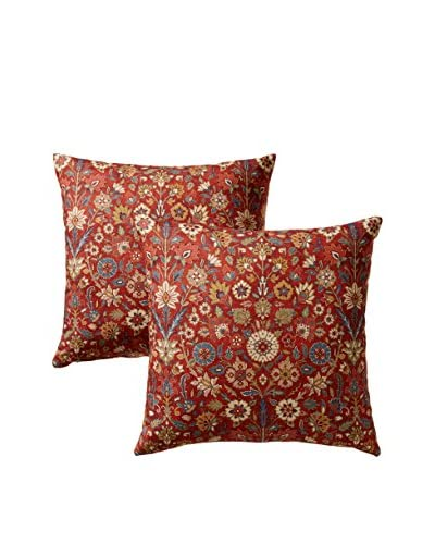 Colorfly by Belle Masion Set of 2 Indira Pillows, Crimson
