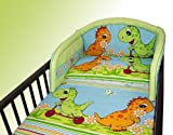 NEW COT BUMPER BABY NURSERY COLOURFUL DESIGNS 120x60cm140x70cm 180 cm Dino Green