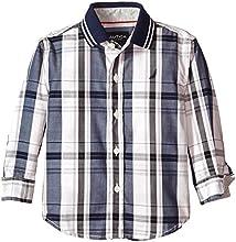 Nautica Little Boys39 Plaid Shirt with Jersey Trim Flat Knit Collar Toddler