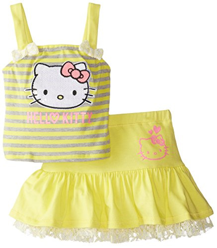 Hello Kitty Baby Girls' 2 Piece Skirt Set Striped, Bright Yellow, 18 Months