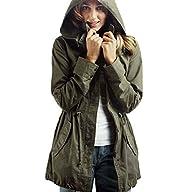 Vedem Women's Hooded Drawstring Military Jacket Parka Coat