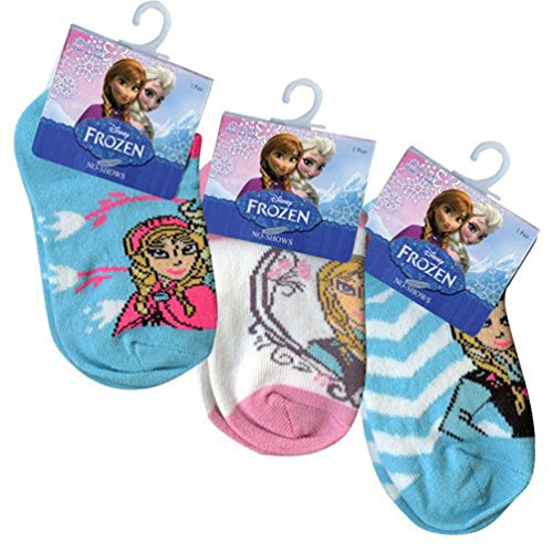 Disney Frozen Anklets Socks 5-6.5 (3 Pairs) - 1