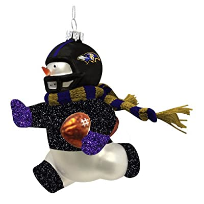 Baltimore Ravens Glass Snowman Player Christmas Ornament