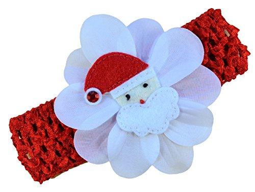 Baby Felt Santa Silk Flower Crochet Headband~Funny Girl Designs
