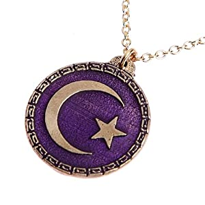 Crescent Moon and Star Purple Enamel Pendant Necklace on 18