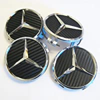 Set of 4 Mercedes Benz Black Carbon Fiber Look Center Caps Part # 2204000125