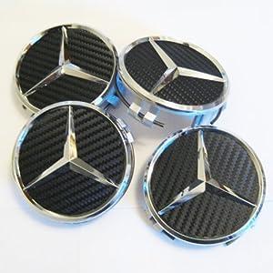 Set of 4 Mercedes Benz Black Carbon Fiber Look Center Caps Part # 2204000125