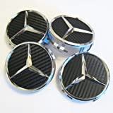Set of 4 New Mercedes Benz Black Carbon Fiber Look Center Caps Part # 2204000125