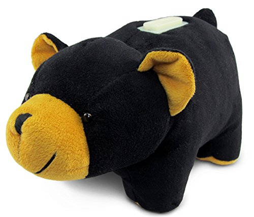 Puzzled Plush Black Bear Huggie Bank - 1