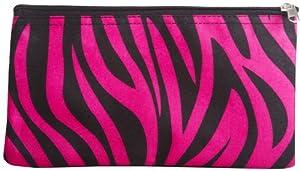 Zebra Hot Pink Black Trim Cosmetic Makeup Bag Small