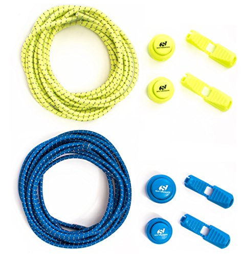 No Tie Reflective Shoe Laces by Sport2People - One Pack of 4 Elastic Shoelaces with Lock - Running Gear Accessories - Jogging, Walking, Hiking, Fitness, Sport - Blue Yellow