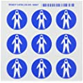 "Brady 58567 Right-To-Know Pictogram Labels , Blue On White,  1-1/2"" Width x 1-1/4"" Height,  Pictogram ""Full Protection Suit"" (9 Per Card,  1 Card per Package)"