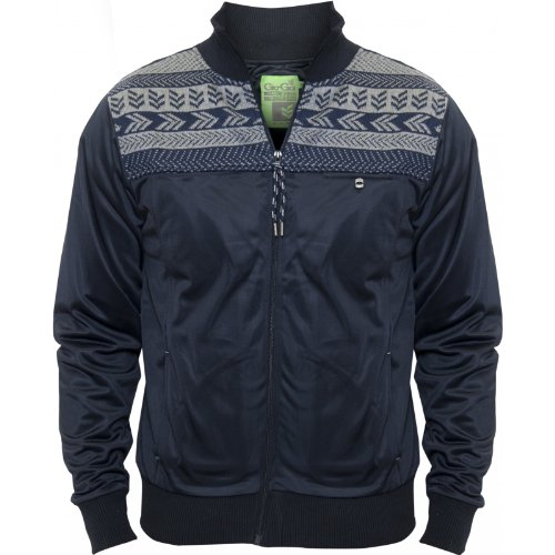 Gio Goi Mens Navy Jacket Racquard Aztec Designer High Collar NEW Navy Large