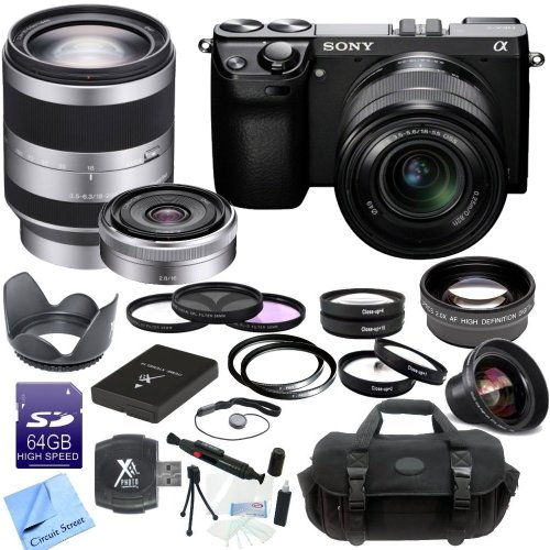 Sony Nex-7 Nex7Kb Nex7K Nex7 24.3 Mp Compact Interchangeable Lens Camera With 18-55Mm Lens + Sony Alpha Sel18200 E-Mount 18-200Mm F3.5-6.3 Oss Lens + Sony Sel16F28 16Mm F/2.8 Wide-Angle Lens + Cs Pro Lens Kit: Includes High Definition Wide Angle Lens, Tel front-637761