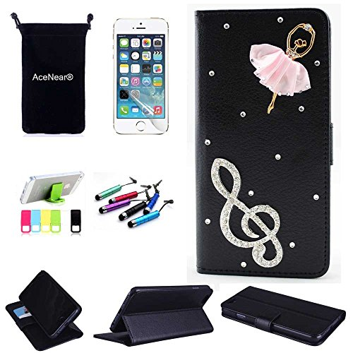 "IPhone 6 Plus CASE AceNear(TM) For IPhone 6 Plus 5.5"" Ultrathin Wallet Folio Stand Support Leather Case Series & Stand holder & Headset Dust Plug Capacitive Stylus & Screen Protector - dancing girl black leather"