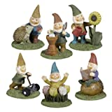 Grasslands Road Miniature Garden Gnome Figurines, 3-Inch, 6-Pack