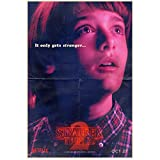"""Noah Schnapp 8 Inch x 10 Inch PHOTOGRAPH Stranger Things (TV Series 2016 - ) """"It Only Gets Stranger"""" Pink Title Poster kn"""