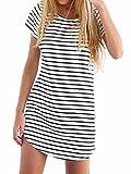 Persun Women Monochrome Stripe Short Sleeve Shift Dress