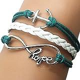 European Infinity 18cm Women's Blue Leather Wrap Bracelet(1 Pc)