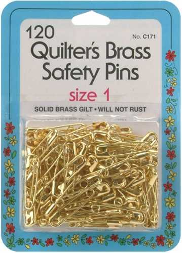 Collins Quilters Brass Safety Pins Size1 120pc