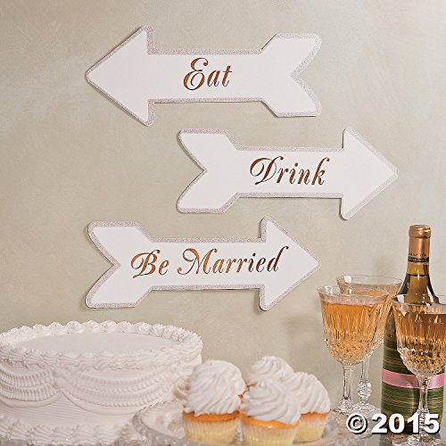 Eat, Drink and Be Married Wedding Reception Party Shower Decorative Sign Set