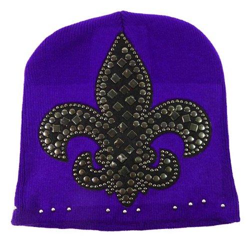fashion-fleur-de-lis-winter-short-beanie-studded-hats-purple