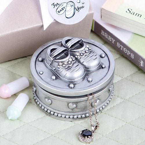 Baby Shoes - Trinket Box - Pewter Color Polyresin - Shower Gift - Christening - Jewelry Box -Baptism Keepsake