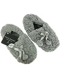 Harve Benard Ladies Sherpa Plush Super Cozy Slippers With Bow And Pom Poms Grey 5-6 B(M) US