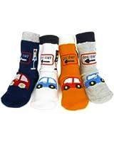 KF Baby Boy Non-Skid Cozy Soft Cotton Socks Value Pack [Set of 4 pairs, White, Grey, Orange, Dark Blue], Beetle, for 12 - 24 months
