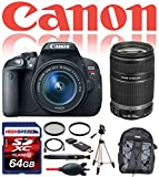Canon EOS Rebel T5i Digital SLR with 18-55mm STM w/ Canon EF-S 55-250mm F4-5.6 IS STM 64GB Deluxe Accesory Kit