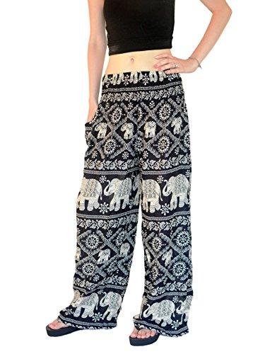 Orient Trail Women's Elephant Design Yoga Wide Leg Harem Pants X-Large Black (Wide Leg Pajama Pants compare prices)