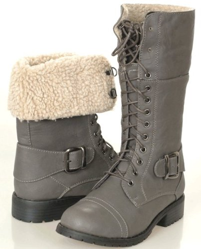 Beautiful Women Coco Grey Military Style Boots With Lace And Zip