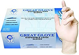GREAT GLOVE 10005-S-BX Latex Industrial Grade Foodservice Glove, 4 - 4.5 mil, Powdered, General Purpose, FDA 177.1950 Compliant For Food Contact,  Small, Natural (Pack of 100)