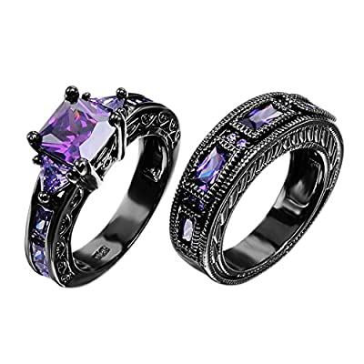 Junxin European Style Amethyst Two Pieces Promise Rings for Couples Black Gold Plated