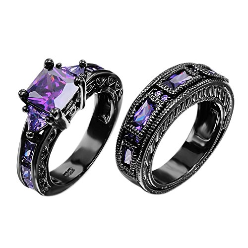 Junxin Jewelry Amethyst Black Gold Wedding Set Two Pieces Women Sz-5 & Men Sz-7