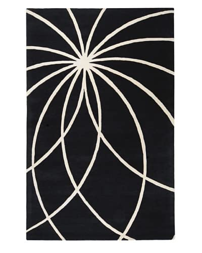 Surya Forum Contemporary Hand Tufted Rug, Coal Black, 8'x10' Kidney