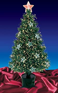 #!Cheap 4' Pre-Lit Fiber Optic Artificial Christmas Tree with Stars - Multi Lights