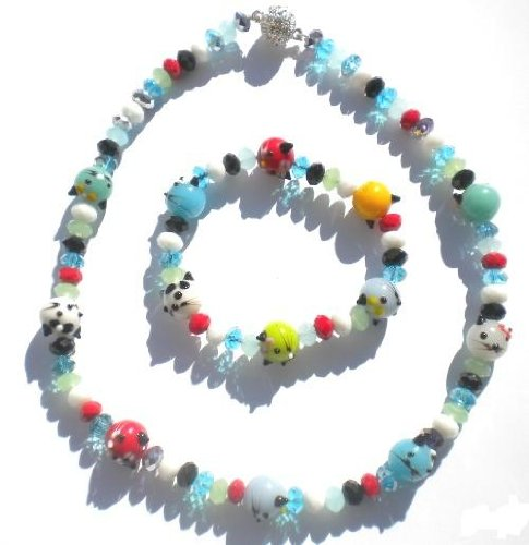 Animal Lover Beautiful Hand Made Ceramics Cartoon Cat Necklace and Bracelet Set