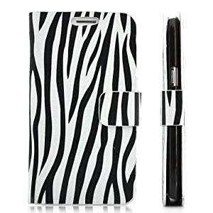 Generic Leather Wallet Pouch Cover Case for Samsung Galaxy Note 2 N7100 - Retail Packaging - Zebra