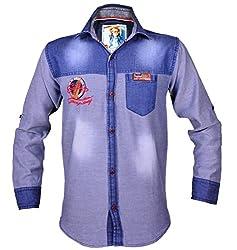 Kidzee 100% Cotton Fashionable Blue Color Designer Cotton Plain Denim Shirt