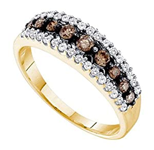0.5 cttw 14k Yellow Gold Brown Diamond Wedding Band Anniversary Ring 6mm ((L0475) Womens Size 4.75)