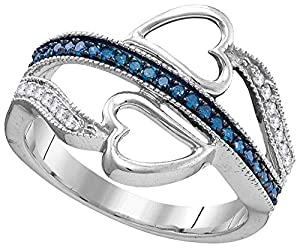 10kt White Gold Womens Round Blue Colored Diamond Heart Love Fashion Ring (.20 cttw.)