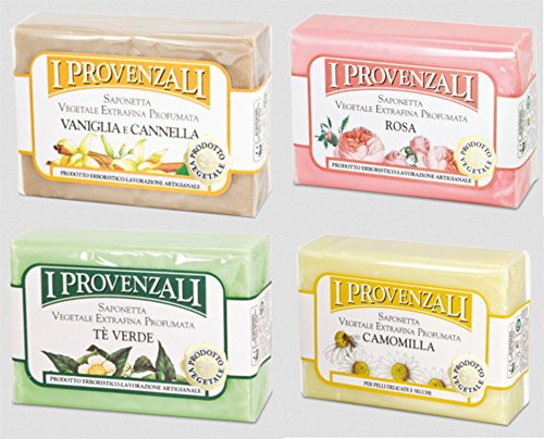 i-provenzali-set-of-four-saponetta-vegetale-vegetable-perfumed-soap-chamomile-green-tea-rose-vanilla