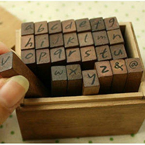 Vintage Wooden Handmade Rubber Stamp Set (28-Piece), Woodows Antique Typewriter Alphabet/Lower An antique typewriter look for the entire alphabet on rubber stamps - 1