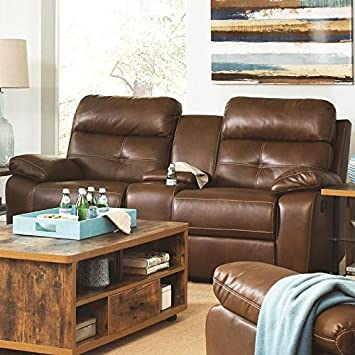 Damiano Collection Glider Loveseat with Console