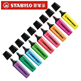 Highlighters|Stabilo Textmarker Boss Original 70 Highlighter Children Stroke Key Mark with Large Capacity Color Small Fresh Marker Pen|by ATUKI| (Color: 3pcs mixed)