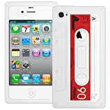 White Retro Xylo-Tape Cassette Silicone Cover / Skin / Case for the Apple iPhone 4 4G 4S.