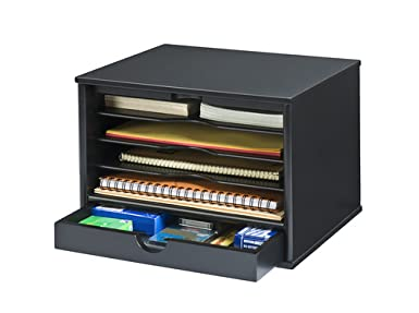 Victor Wood Midnight Black CollectionDesktop Organizer,