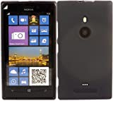 Gel Shell Case Cover And Screen Guard For Nokia Lumia 925 / Black