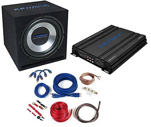 CRUNCH-CBP1000-Basspack-Set-Subwoofer-Bassbox-Basskiste-Gehusesubwoofer-Bassreflex-Subboxes-Woofer-Verstrker-Amplifier-Endstufe-Kabelkit-Anschlusskabel-Kabelset-1000-WATT